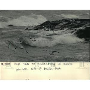 1983 Press Photo On the Milwaukee lakefront as waves crashed in the background.