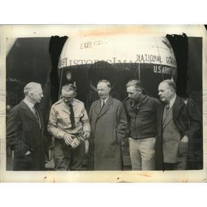 1935 Press Photo Dr Lyman Briggs, Capt Al Stevens, Dr Gil Grosvenor - neo22341