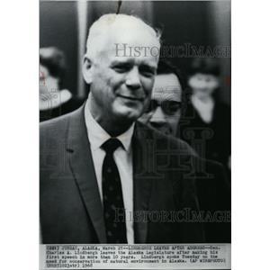 1968 Wire Photo Charles Lindbergh speaks on Alaska environmental issues