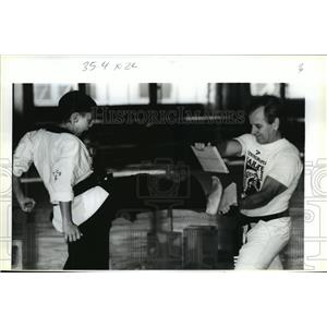 1990 Press Photo U.S. Karate Alliance - Jacques Aubent and Carl Daigrepont