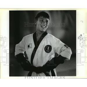1990 Press Photo U.S. Karate Alliance - Jacques Aubent in Karate Demonstration