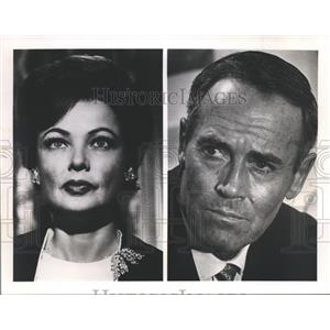 """1966 Press Photo Henry Fonda and Gene Tierney in CBS """"Advise and Consent""""."""
