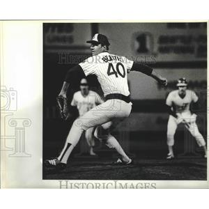 1981 Press Photo Seattle Mariners baseball pitcher, Jim Beattie, in action