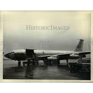 1957 Press Photo Stratotanker Speckled Trout shown at Boeing Field Seattle WA
