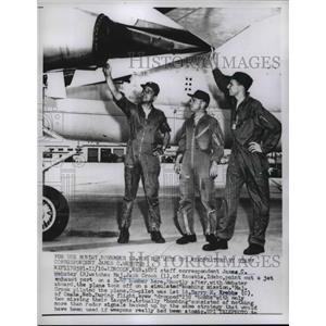 1958 Press Photo UPI Staff Reporter James Webster Inspects B-47 Plane