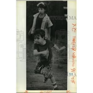 1988 Press Photo Michael Touchy II and sister Kelly Playing Baseball