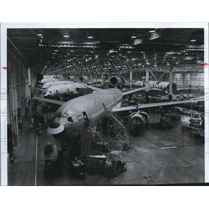 1979 Press Photo Production Lines of Planes at McDonnell Douglas Corporation