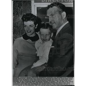 1955 Press Photo Jane Russell with her adopted son Tommy and Bob Waterfield