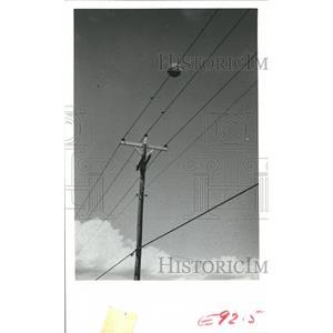 1978 Press Photo Large ball mounted on power lines, Houston Lighting & Power