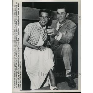 1950 Press Photo Tiger pitcher Art Houtteman & fiancee Shelagh Marie Kelly