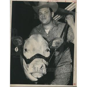 1961 Press Photo Charles Cornelius and the Reserve Champion, Fat stock Show
