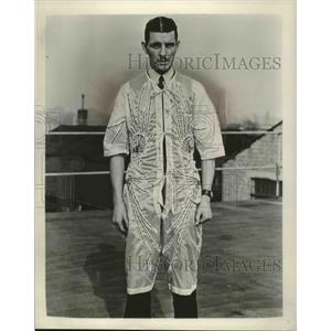 1953 Press Photo Man in Cooling Suit for Jet Pilots, England - mjx38857