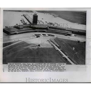 1958 Press Photo Aerial view of the Columbus' multi-million dollar air terminal