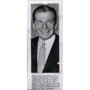 1959 Press Photo Frank Fay Former Broadway Comedian Act - RRW81243