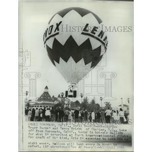 1966 Press Photo Tracy Barnes & Terry Wright, Transcontinental Balloon Flight