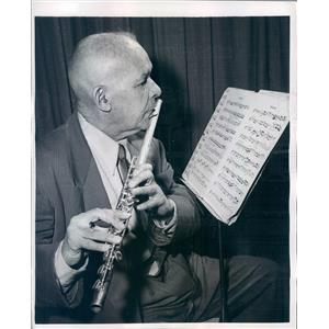 1958 Press Photo Golden Age Orchestra Flautist Severino Hernandez - ner4457
