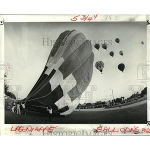 1981 Press Photo Balloons Taking Off for 3rd Annual Hammond Balloon Festival