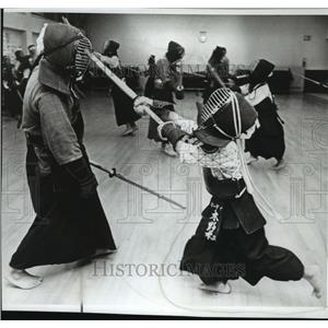 1980 Press Photo Children are taught the Art of Kendo - sword - spb05689
