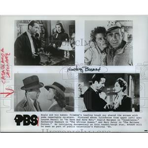 1980 Press Photo Humphrey Bogart, Lauren Bacall & Ingrid Bergman featured on PBS