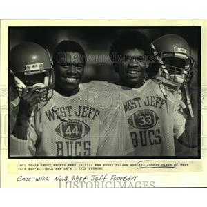 1988 Press Photo Kenny Mullen & Johnny Dixon of West Jefferson Football Team