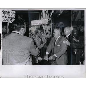 1934 Press Photo Demonstrations Labor Union Member Mich