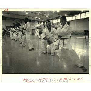 1987 Press Photo Ferdinand Bigard and Andrew Jackson at Desire Community Center