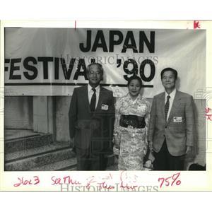 1990 Press Photo Mitsuri & Hisako Eguchi, Dr. Honda at Japan Culture Celebration