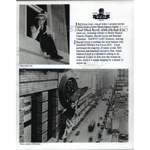 1923 Press Photo Bill Irwin and Harold Lloyd in Safety Last, silent era film.