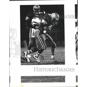 1992 Press Photo Edison and Holmes play prep football at Northside Stadium