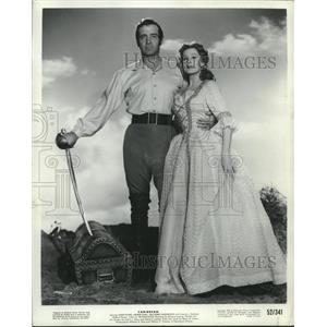 "1952 Press Photo John Payne and Arlene Dahl in ""Caribbean"" - lrz00179"
