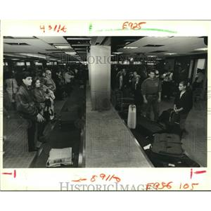 1988 Press Photo Passengers at New Orleans Airport wait for luggage to arrive