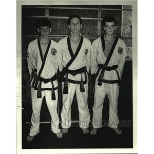 1988 Press Photo Shayne Guillot, Wayne Guillot & Robbie Lawless at Karate Center