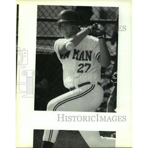 1993 Press Photo Baseball Pitcher Bobby Gravolet Swinging the Bat for Newman