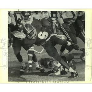 1989 Press Photo Football - Loffette Hampton of Clark Runs Against Clark