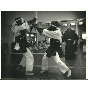 1986 Press Photo Nobuo Hayashi and Kendo students at Hayashie Sports Clinic
