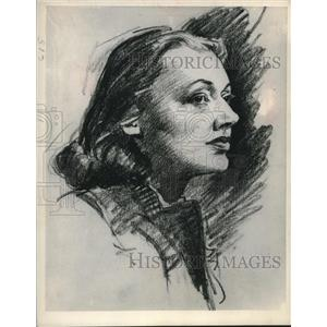 1948 Press Photo A sketch of Broadway actress, Katherine Cornell by E.H. Gunder