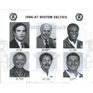 1986 Press Photo Boston Celtics Jan Volk Red Auerbach - RRQ50137