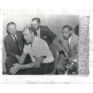 1953 Press Photo Chicago Cubs Organization Matthews Veeck Russell Cavarretta