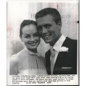 1956 Press Photo Victoria Shaw and Roger Smith get married in Hollywood