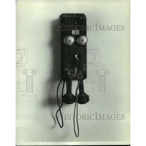 1969 Press Photo Wood wall hanging phone with two speakers - mjc06437