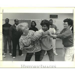 1990 Press Photo Teachers learning self defense in the Louisiana Nature Center