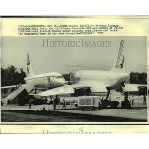 1976 Press Photo A British Airways Concorde SST & an Air France Concorde SST