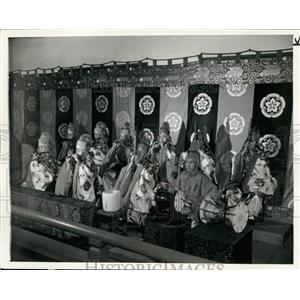 1945 Press Photo Japanese musicians with instruments of ancient design