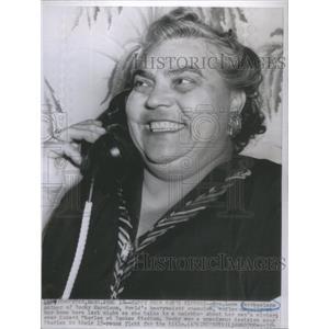 1954 Press Photo Lena Marchegiano Rocky Ezzard Charles Yankee