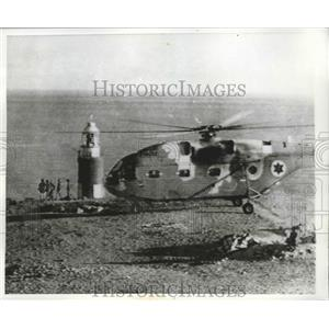 1970 Press Photo Helicopter that will take Israeli paratroopers to military base