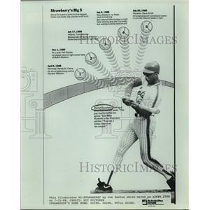 1988 Press Photo New York Mets baseball player Darryl Strawberry - sas15770