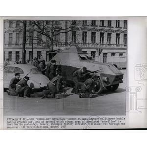 1957 Press Photo Militiamen Huddle Behind Armored Car - RRX78147