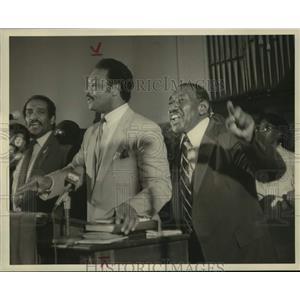 1985 Press Photo Reverend Jesse Jackson and Albert Turner Speak at Selma Rally