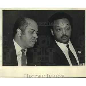 1986 Press Photo Reverend Jesse Jackson & Birmingham Mayor Richard Arrington Jr.