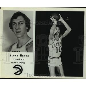 Press Photo Atlanta Hawks Basketball Player Steve Hawes Prepares to Shoot Ball